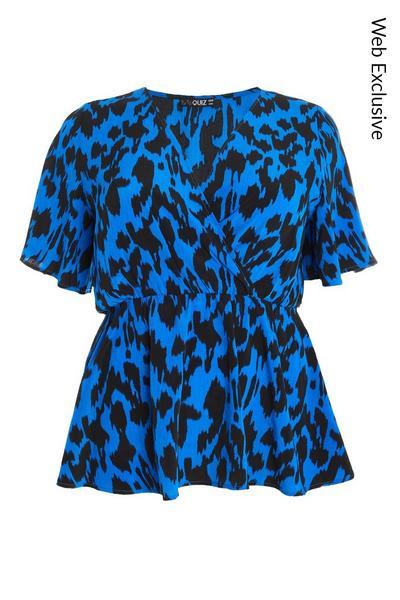 Curve Blue Animal Print Wrap Top